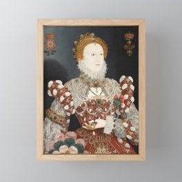 Portrait of Queen Elizabeth I by Nicholas Hilliard, 16th Century Framed Mini Art Print