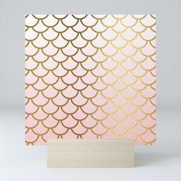 Pink Gradient And Gold Foil MermaidScales - Mermaid Scales Mini Art Print