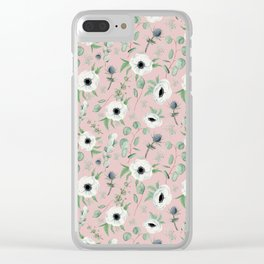 Pink Anemone Pattern Clear iPhone Case
