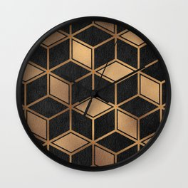 Charcoal and Gold - Geometric Textured Cube Design II Wall Clock