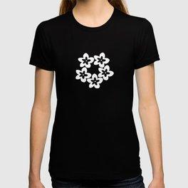 Black and White Plumeria Lei T-shirt