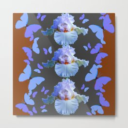 LILAC-PURPLE BLUE BUTTERFLIES  BROWN ART DESIGN Metal Print