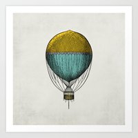 hot air balloon Art Prints featuring Vintage Hot Air Balloon by Juste Pixx Designs