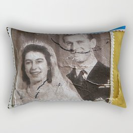 King and Queen of the United Kingdom Popart stamp used Rectangular Pillow