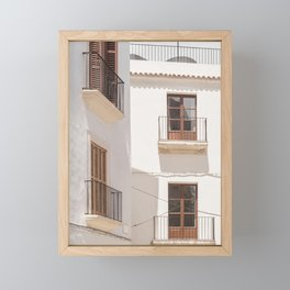Mediterranean Village White House Facade Framed Mini Art Print