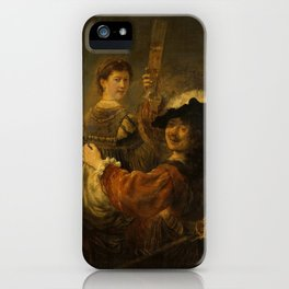 Rembrandt - Rembrandt and Saskia in the Scene of the Prodigal Son (1635) iPhone Case
