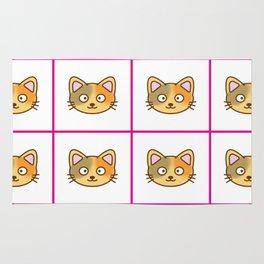 Cutie Cat Face Pattern Rug