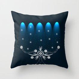 Spot Cyan Lights Dark Floral Design Throw Pillow