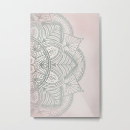 Blush Pink and Mint Mandala Metal Print