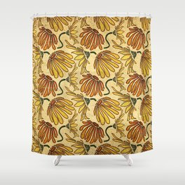 Retro 70's Golden Yellow Daisy Pattern  Shower Curtain