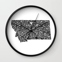 montana Wall Clocks featuring Typographic Montana by CAPow!