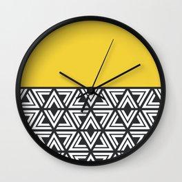 Black, White and Yellow Geo Wall Clock