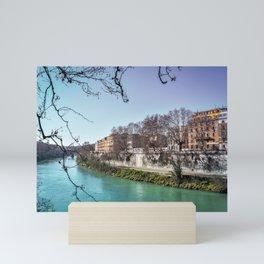 Tiber River Framed by Tree Branch Silhouette Mini Art Print