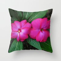 hot pink Throw Pillows featuring Hot Hot Pink by Nevermind the Camera
