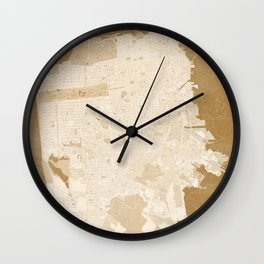 San Francisco Penninsula vintage map in sepia Wall Clock