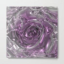 Rose,liquid Metal Metal Print