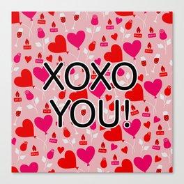 Valentine XOXO YOU Heart Pattern Canvas Print