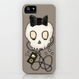 Girly Skull with Black Bow / Die for Music iPhone Case