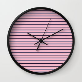 Pink and Navy Blue Horizontal Stripes Wall Clock