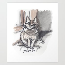 Portrait of Phoebe the Cat Art Print