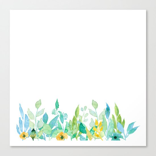 flowers in a meadow - Floral watercolor illustration on white background Canvas Print