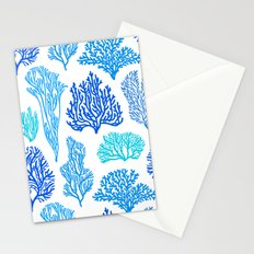 Coral Mania Pattern (blue) Stationery Cards