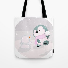 Baby Penguin and Snowman Tote Bag