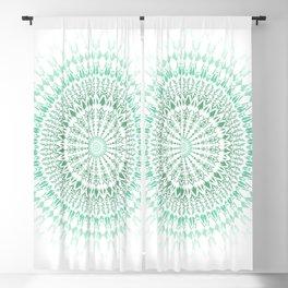 Mint White Geometric Mandala Blackout Curtain