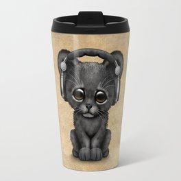 Cute Black Panther Cub Dj Wearing Headphones Travel Mug