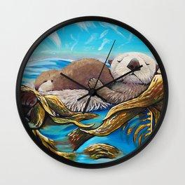 Sea Otter Mom & Pup Wall Clock