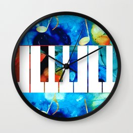Colorful Piano Art by Sharon Cummings Wall Clock
