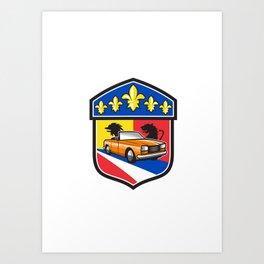 Vintage Cabriolet Fleur-de-Lis Crest Retro Art Print