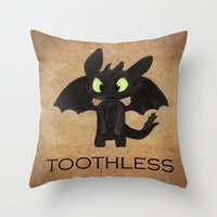 toothless Throw Pillows featuring Toothless  by Walko