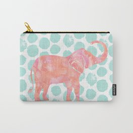 Mint Watercolor Elephant on Coral Dots Carry-All Pouch