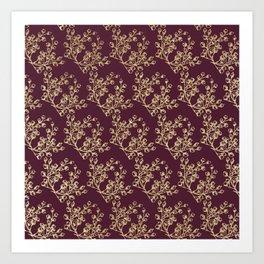 Elegant burgundy faux gold glitter berries floral Art Print