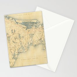 Vintage Map of Barnstable Massachusetts (1893) Stationery Cards