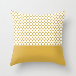 Retro Polka Dots (Spicy Mustard) Throw Pillow