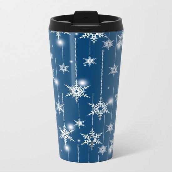 Christmas pattern. White snowflakes on a blue background. Metal Travel Mug