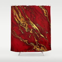 Chic Elegant Fire Red Ombre Glitter Marble Shower Curtain