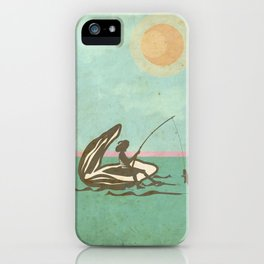 Boy fishing from Oyster Shell iPhone Case