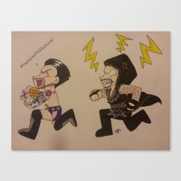wwe Canvas Prints featuring WWE CM Punk Steals Undertakers Urn by Juui-Chan