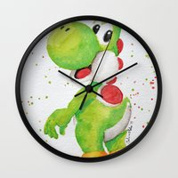 yoshi Wall Clocks featuring Yoshi by Sabina's Arts