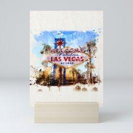 Las Vegas watercolor Mini Art Print