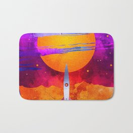 Colorful Outer Space Spaceship Bath Mat