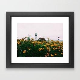 Portland Headlight and Flowers Framed Art Print