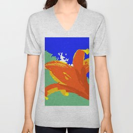 Daylily in Surreal Orange, Yellow, Blue Sky, Green Trees Unisex V-Neck