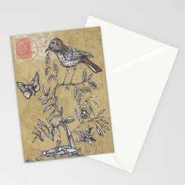 Vintage Birds and Bugs Stationery Cards