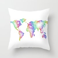 map of the world Throw Pillows featuring World map by David Zydd