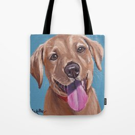 Red Lab Painting, Puppy Painting Tote Bag