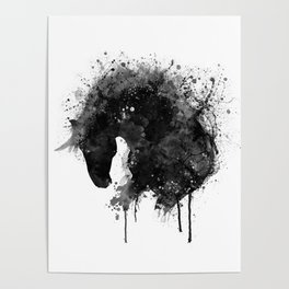 Black and White Horse Head Watercolor Silhouette Poster